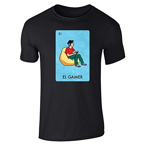 El Gamer Video Games Funny Mexican Lottery Parody Black L Graphic Tee T-Shirt for Men
