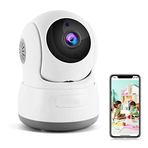 LKJCZ Telecamera di Sicurezza Wireless, 720P HD Home WiFi Wireless Security Surveillance Telecamera IP con Motion Detection Pan/Tilt, 2 Vie Audio E Visione Notturna Baby Monitor, Nanny Cam,White