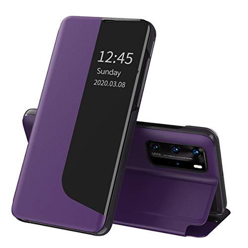 Suhctup Compatible con Huawei p40 Pro Funda Smart View Flip Carcasa de Cuero PU+PC Ultrafina de Piel con Función de Soporte y Cierre Magnetico Caso Protección de 360° Case-Púrpura