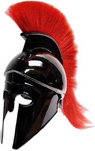THE ARMOUR WORLD Greek Corinthian Helmet with Red Plume|Wearable Helmet Armor|Roman Knight Spartan LARP Costume Black