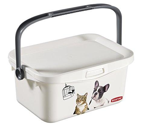 Curver | Box mit Deckel für Hunde und Katzen, 3 l, Weiß, für Tierfutter