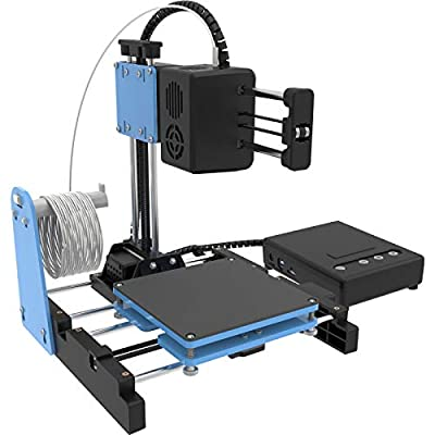 "TTLIFE Mini 3D Printer for Kids & Beginners, Small 3D Printer with Magnetic Plate, Fast Heating, Low Noise, Printing Size 4""×4""×4"", Free 10m(L) 1.75mm(D) Testing Filament, Black&Blue"