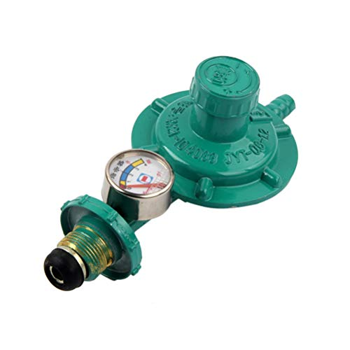UKCOCO Propan-Gasregler mit Manometer Manometer Füllstandanzeige für BBQ Campingherde Caravan Klempner (grün)