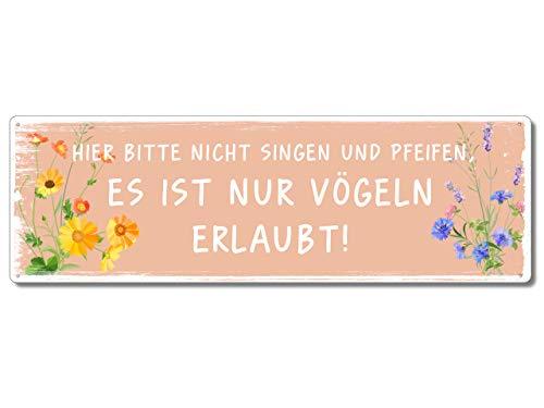 Interluxe Metallschild - Hier Bitte Nicht singen und pfeifen - lustige Schilder mit Sprüchen für Garten, Terrasse, Balkon oder Wohnung