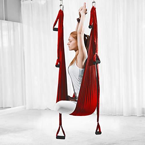 ZKLNO Hamaca Yoga Aérea Inversión para Interiores, Hamaca Fitness con Columpio Yoga, Hamaca Antigravedad Tela Paracaídas para Exteriores, Columpio Yoga Aéreo,Herramienta para Gimnasio,Rojo