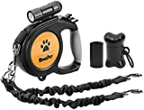 BINGPET 8M Dog Lead Retractable with Detachable Flashlight and Poop Bag Dispenser, Dog Extension Lead Heavy Duty for Small Medium Large Dogs up to 100lbs