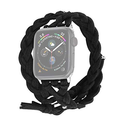Nourich Kompatibel mit Apple Watch Series 1/2/3/4 42mm / 44mm Handgeflochtener Dermis-Gurtersatz für Outdoor, Sport, Überleben, Camping, Wandern, Klettern