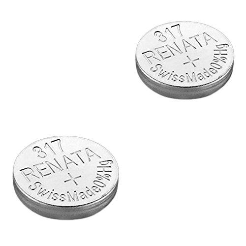 2 x Renata Uhrenbatterie - Swiss made Cells Silberoxid 0% Quecksilber Knopfzellen 1.55V Renata Batterien des langen Lebens 317 (SR516SW)