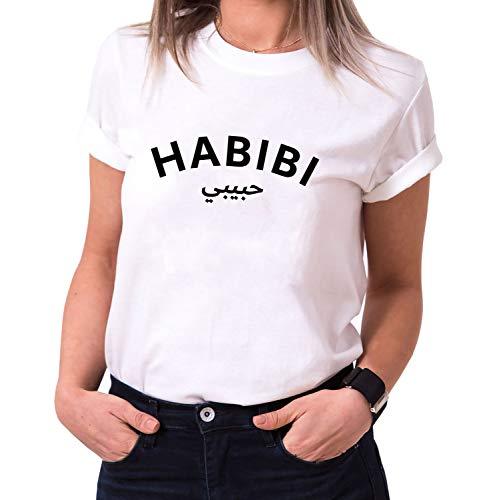 Habibi - Damen T-Shirt Rundhals - Sprüche Shirts - Trendy O-Neck - Spruch - Print - Kurzarm - Hipster - Frauen - Mädchen - Girls, Größe:XL, Farbe:Weiß
