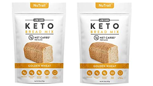 NuTrail™ - Keto Bread Mix - Only 2g Net Carbs per slice - Makes 1 Large Loaf - Low Carb Food - Easy Baking (13.3 oz) (2 Count)