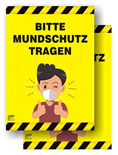 2er set - EppoBrand Bitte Mundschutz Tragen Aufkleber 13x19 cm - Hinweis Schild zur Maskenpflicht benutzen Tür Wand, für Supermärkte, Arztpraxen, Geschäfte etc, NA