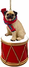 PUG Fawn Dog DRUM Christmas Ornament w/Gold String & Scarf DRD18A