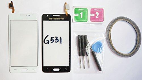 JRLinco Para Samsung Galaxy Grand Prime VE SM-G531G531F Pantalla de Cristal Táctil, Pieza de Recambio touchscreen glass display(Sin LCD) Para Blanco + Herramientas y Adhesivo de Doble Cara