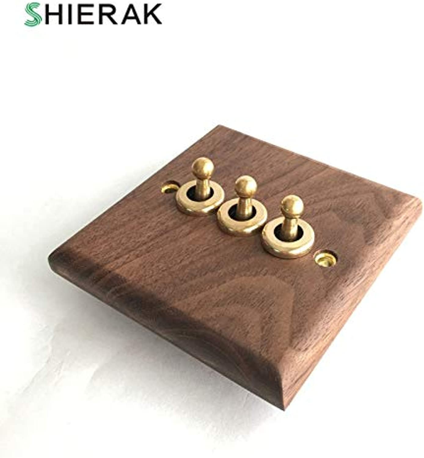 SHIERAK Classical Walnut Wood Panel Light Switch High Quality 3 Gang Wall Switch Lever Toggle Switch(Number of Gangs  3-Gang)