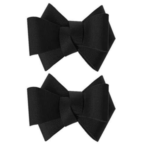 Roydoa - 2 toppe fai da te con fiocco, per scarpe, vestiti, applique e accessori per ricami Nero Etichettalia unica