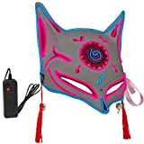 SWOOL Japanese Fox Mask Kitsune mask for Adults Kids - Halloween Masks LED Mask - Led Light up Mask Red White, Red_white, Large