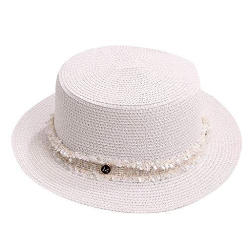 DOLDOA Hut Damen Sommer,Damen Sommer England Zylinder Sonnenblende Sonnen Strand Hut (Weiß)