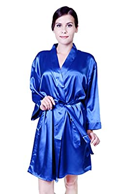 Mixi¡¡Women's Pure Colour Short Silk Robes,Nightgown Bridesmaid Kimono with Oblique V-Neck