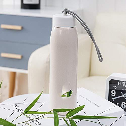 Heiße doppelte Farbe Art und Weise Geschenk Werbe-Cup Nachahmung Rattan Glasschale tragbare Wärmegefälle, Farbe: rosa, Kapazität: 501-600ml (Color : White)