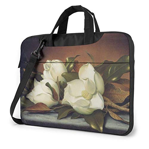 15.6 inch Laptop Shoulder Briefcase Messenger Giant Magnolias Flowers Painting Tablet Bussiness Carrying Handbag Case Sleeve