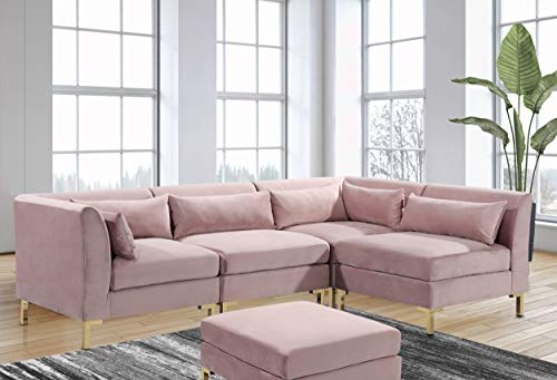 Iconic Home Girardi Modular Chaise Sectional Sofa Velvet Upholstered Solid Gold Tone Metal Y-Leg with 6 Throw Pillows Modern Contemporary, Blush