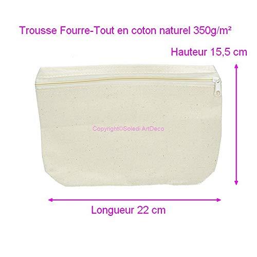 Artif Trousse Fourre-Tout en Coton Naturel 350g/m², Fourreau Haut. 15,5cm x Long. 22cm, à décorer