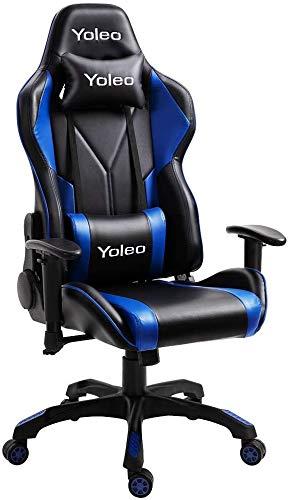 YOLEO Silla Gaming Profesional, Gaming Chair Silla Ajustable Giratoria para Juegos, Poilipiel, Ergonómica, Carga Máxima de 150 kg, Negro Azul