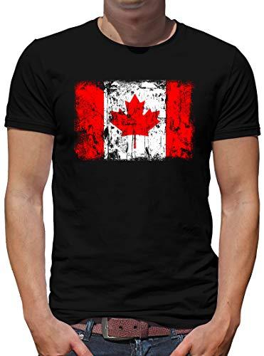 TShirt-People Kanada Vintage Flagge Fahne T-Shirt Herren L Schwarz