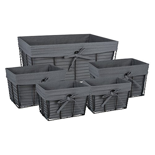 DII Farmhouse Vintage Storage Baskets with Liner, Assorted S/5, Gray 5 Piece