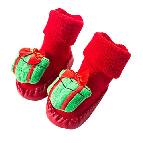 SOIMISS Non- Skid Indoor Slippers Warm Soft Socks 3D Cartoon House Slipper Sherpa Booties Christmas Slipper Socks 12CM