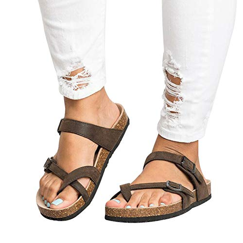 Acutty Women Cork Footbed Sandals, Slide Buckle T-Strap Platform Flip Flop Shoes Fashion Low Platform Suede Slides Arch Support Flat Sandals for Summer