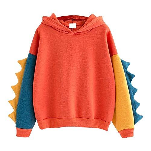 Aniywn Women Girls Cosplay Sweater Hoodie Cute Ears Costume Jacket Color Patchwork Pullover Shirt Top Orange
