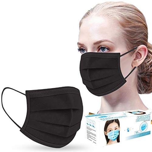 50PCS Black 3 ply Disposаble Face Mɑsk For Coronɑvịrus Protectịon - Çovịd_Mɑsks for Adults Fɑce Mɑsks For Women Men (Black, 50PCS)