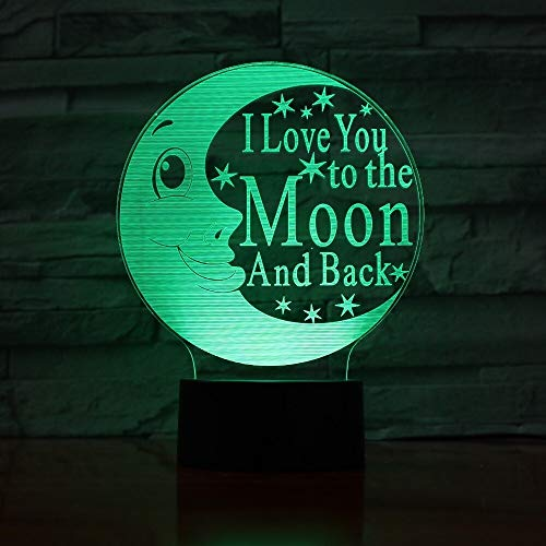 I Love You Moon 3D Table lamp Night Light LED Colorful Atmosphere Small Accessories Decoration Baby 3D Table lamp-