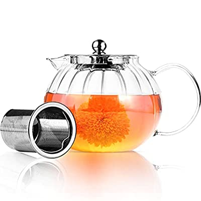 Warmyee Glass Teapot with Removable Infuser, Stovetop Safe Tea Kettle, Tea Diffuser for Loose Tea Maker Set (22 oz / 650 ml (1-2 Cups))