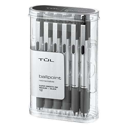 TUL BP3 Retractable Ballpoint Pens, Medium Point, 1.0 mm, Silver Barrel, Black Ink, Pack of 12 Pens