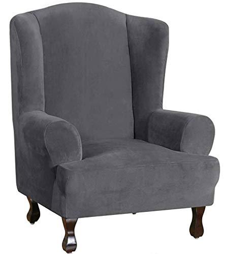 HKPLDE Sesselbezug Samt Schonbezüge Für Sesselbezug Plüsch Sofabezüge 1-Stück Möbelbezug Husse Für Ohrensessel Mit Elastischem Boden-grau