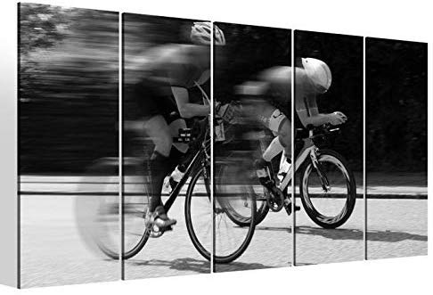 Leinwandbilder 5 teilig XXL 200x100cm schwarz weiß Rennrad fahren Straße Fahrrad tour Druck auf Leinwand Bild 9BM2302