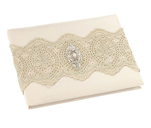 Lillian Rose Vintage Gold Lace Ivory Satin Wedding Guest Book, 8.75 x 6