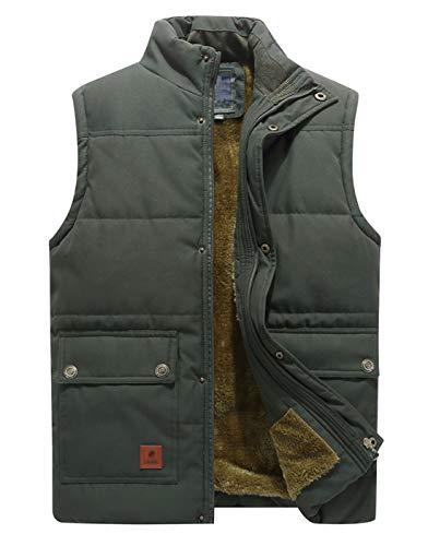 KEFITEVD Steppweste Herren Outdoor Weste Multi Taschen Funktionsweste Männer Wattiert Fleece Jacke Winter für Jagd Angeln #2 Dunkeloliv 3XL (Etikett: 7XL)