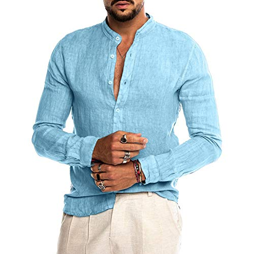 Camisa de Manga Larga con Cuello Alto para Hombre Color Puro Sencillez Casual Cómoda Tendencia Camisas básicas de Todo fósforo 3XL