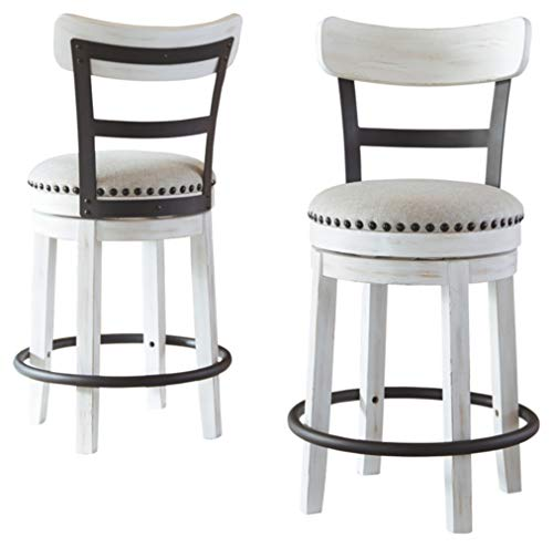 Signature Design by Ashley - Valebeck Upholstered Swivel Barstool - Counter Height - Casual Style - White