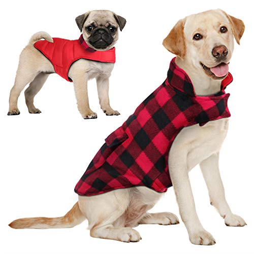 AOFITEE Reversible Dog Cold Weather Coat, Waterproof British Style Plaid Winter Pet Jacket, Warm Cotton Lined Vest Windproof Collar Outdoor Apparel...