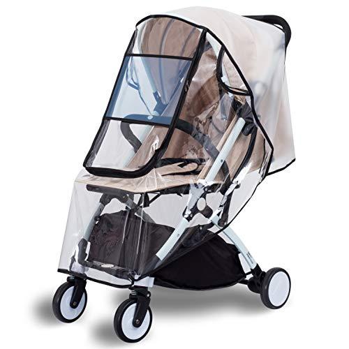 bemece Universal Regenschutz für Kinderwagen, Wasserdichter Reißverschluss Großes Fenster, Gute Luftzirkulation, Schadstofffrei - M