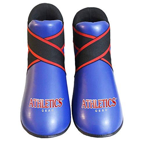 Halbkontaktstiefel für Kickboxen, Schaumstoff-Pad für Kinder, Taekwondo-Fußschutz, Karate-Sparring, Fußschutz (blau, X-Large)