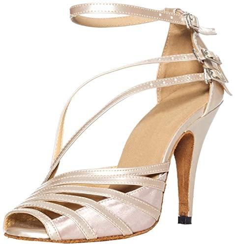 Minitoo, QJ6105, sandali da ballo dadonna in pelle, modello spuntato, ideali per salsa, tango, liscio e balli latini, Marrone (Brown-10cm Heel), 38,5 EU