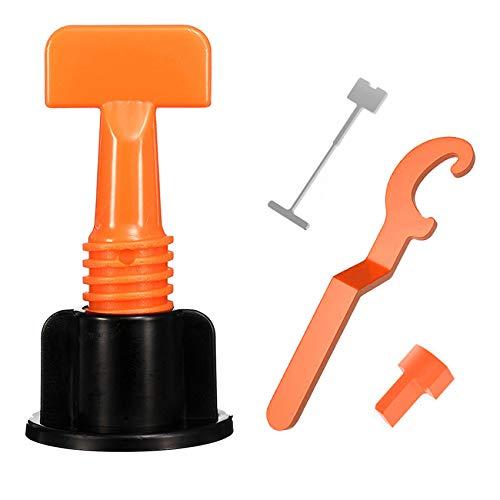 Fliesen Nivelliersystem Kit, Wiederverwendbar Fliese Leveler, T Form Fliese Nivellierung Fliesen - Verstellbar Fliesen Abstandshalter mit Spezialschlüssel für Keramik, DIY Werkzeug