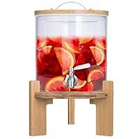 distributore di bevande con rubinetto antigoccia in acciaio inox distributore di acqua in vetro con supporto in bambù e coperchio in vetro borosilicato resistente al calore (5 litri)
