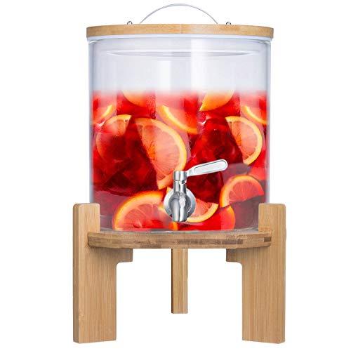 Getränkespender mit tropfsicheren Zapfhahn aus Edelstahl Wasserspender aus Glas mit Bambus Ständer und Deckel Limonadenspender aus hitzebeständigen Borasilikatglas (5 Liter)