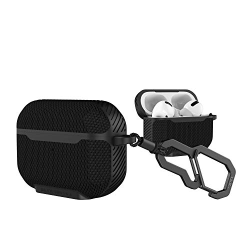 Urban Armor Gear Metropolis Case for Apple Airpods Pro Case (Wireless Charging Compatible, Drop Resistant to Military Standard, Snap Hook) - FIBR ARMR Black